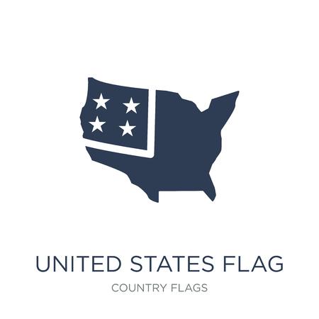 Flaggensymbol der Vereinigten Staaten. Trendiges flaches Vektor-USA-Flaggensymbol auf weißem Hintergrund aus der Länderflaggensammlung, Vektorillustration kann für Web und Mobile verwendet werden, eps10
