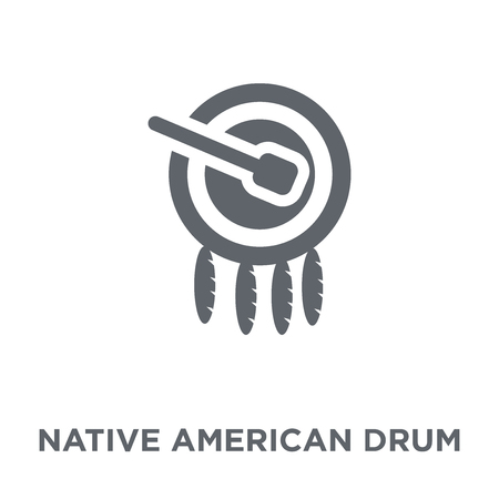 Native American Drum icon. Native American Drum design concept from American Indigenous Signals collection. Simple element vector illustration on white background.