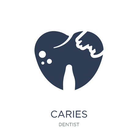 Caries icon. Trendy flat vector Caries icon on white background from Dentist collection, vector illustration can be use for web and mobile, eps10