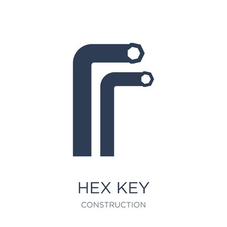 Hex key icon. Trendy flat vector Hex key icon on white background from Construction collection, vector illustration can be use for web and mobile, eps10 Stock Vector - 111921889