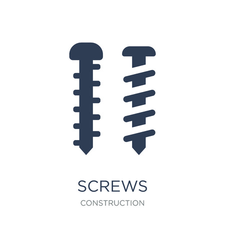 Screws icon. Trendy flat vector Screws icon on white background from Construction collection, vector illustration can be use for web and mobile, eps10