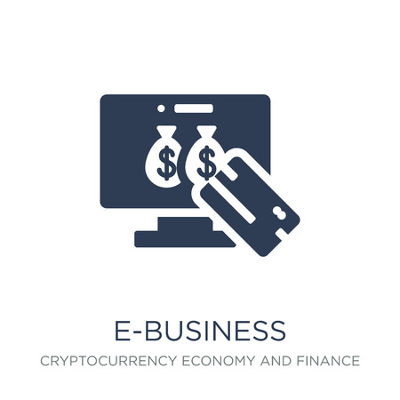 e-business icon. Trendy flat vector e-business icon on white background from Cryptocurrency economy and finance collection, vector illustration can be use for web and mobile, eps10 Illustration
