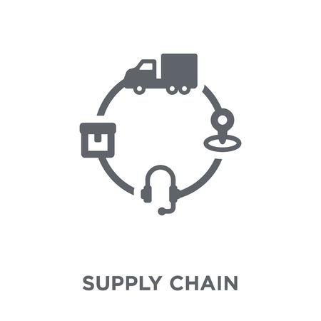 Ikona łańcucha dostaw. Koncepcja projektowania łańcucha dostaw od dostawy i odbioru logistycznego. Prosty element ilustracji wektorowych na białym tle.