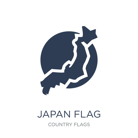 Japan flag icon. Trendy flat vector Japan flag icon on white background from Country Flags collection, vector illustration can be use for web and mobile, eps10