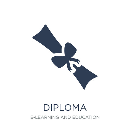 Diploma icon. Trendy flat vector Diploma icon on white background from E-learning and education collection, vector illustration can be use for web and mobile, eps10