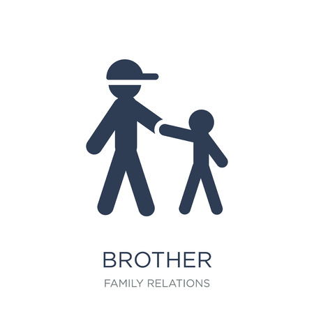 brother icon. Trendy flat vector brother icon on white background from family relations collection, vector illustration can be use for web and mobile, eps10