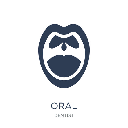 Oral icon. Trendy flat vector Oral icon on white background from Dentist collection, vector illustration can be use for web and mobile, eps10 Иллюстрация