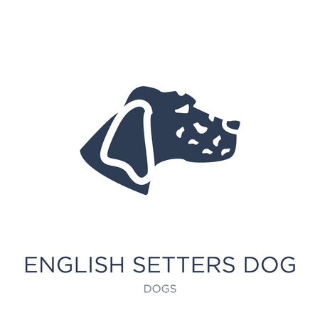 English Setters dog icon. Trendy flat vector English Setters dog icon on white background from dogs collection, vector illustration can be use for web and mobile, eps10 Stock Vector - 112062023