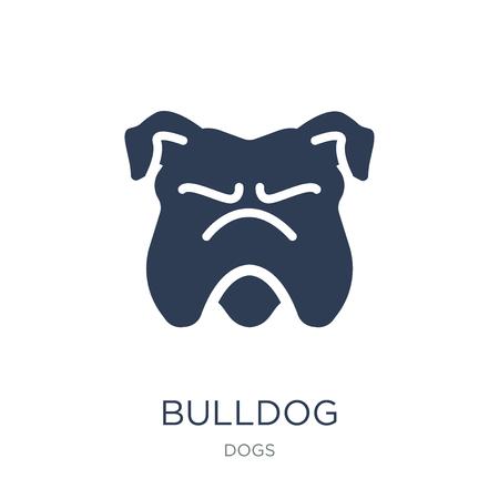 Bulldog-Symbol. Trendiges flaches Vektor-Bulldog-Symbol auf weißem Hintergrund aus der Hundesammlung, Vektorillustration kann für Web und Mobile verwendet werden, eps10 Vektorgrafik
