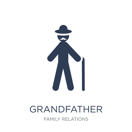 grandfather icon. Trendy flat vector grandfather icon on white background from family relations collection, vector illustration can be use for web and mobile, eps10 Ilustração Vetorial