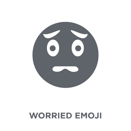 Worried emoji icon. Worried emoji design concept from Emoji collection. Simple element vector illustration on white background.
