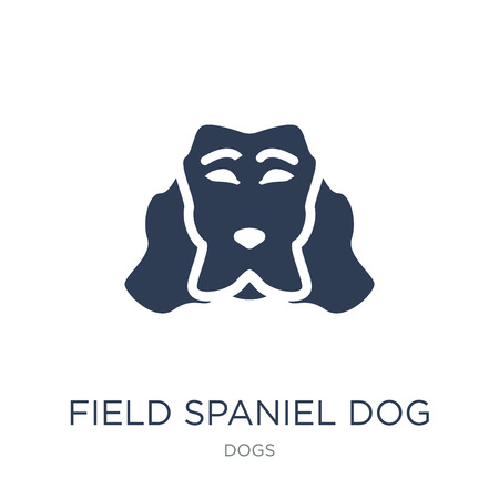 Field Spaniel dog icon. Trendy flat vector Field Spaniel dog icon on white background from dogs collection, vector illustration can be use for web and mobile, eps10 Stok Fotoğraf - 111297020