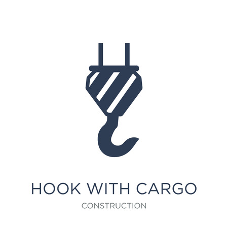 hook with cargo icon. Trendy flat vector hook with cargo icon on white background from Construction collection, vector illustration can be use for web and mobile, eps10