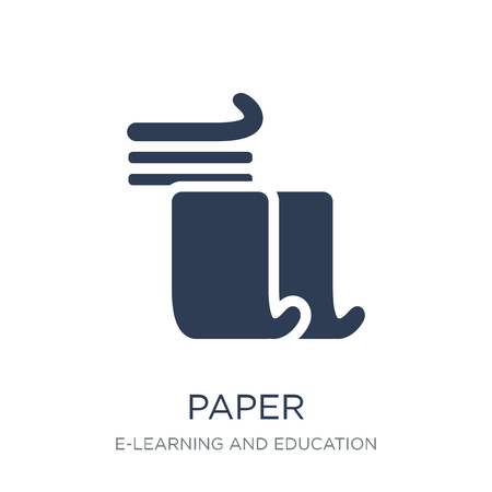 Paper icon. Trendy flat vector Paper icon on white background from E-learning and education collection, vector illustration can be use for web and mobile, eps10