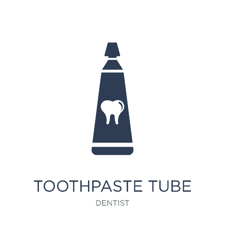 Toothpaste tube icon. Trendy flat vector Toothpaste tube icon on white background from Dentist collection, vector illustration can be use for web and mobile, eps10