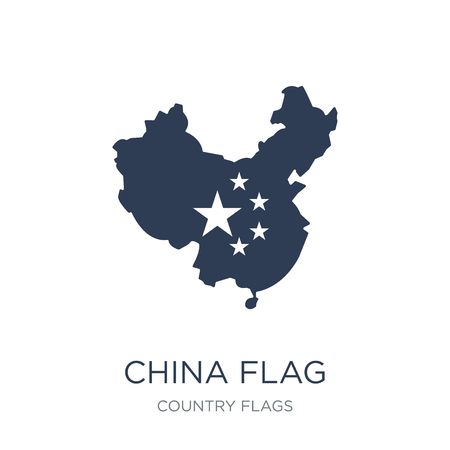 China flag icon. Trendy flat vector China flag icon on white background from Country Flags collection, vector illustration can be use for web and mobile, eps10  イラスト・ベクター素材