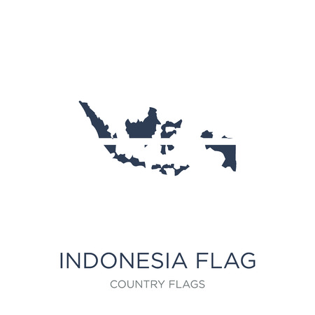 Indonesia flag icon. Trendy flat vector Indonesia flag icon on white background from Country Flags collection, vector illustration can be use for web and mobile, eps10