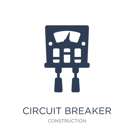 Circuit Breaker icon. Trendy flat vector Circuit Breaker icon on white background from Construction collection, vector illustration can be use for web and mobile, eps10 Vetores