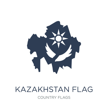 Kazakhstan flag icon. Trendy flat vector Kazakhstan flag icon on white background from Country Flags collection, vector illustration can be use for web and mobile, eps10 向量圖像