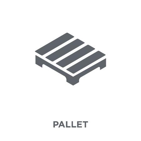Icono de paleta. Concepto de diseño de paletas de entrega y recogida logística. Ilustración de vector de elemento simple sobre fondo blanco. Ilustración de vector
