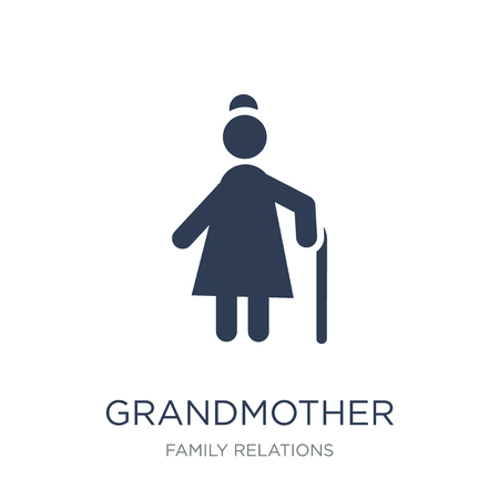 grandmother icon. Trendy flat vector grandmother icon on white background from family relations collection, vector illustration can be use for web and mobile, eps10  イラスト・ベクター素材
