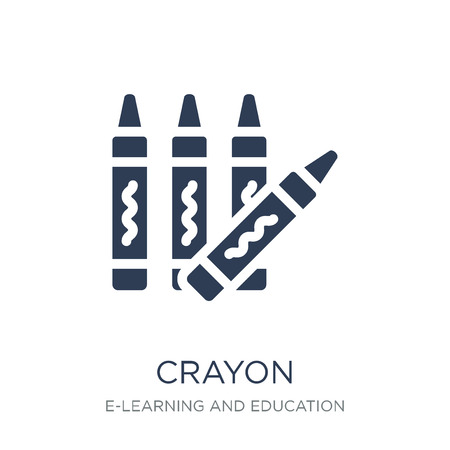 Crayon icon. Trendy flat vector Crayon icon on white background from E-learning and education collection, vector illustration can be use for web and mobile, eps10 Vectores