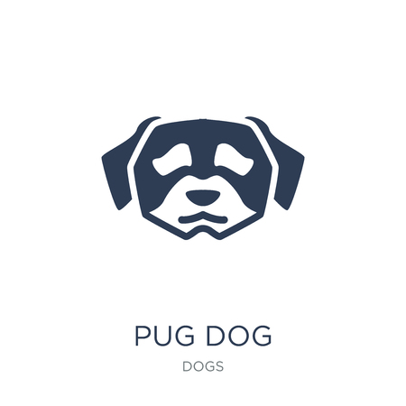 Pug dog icon. Trendy flat vector Pug dog icon on white background from dogs collection, vector illustration can be use for web and mobile, eps10 Иллюстрация
