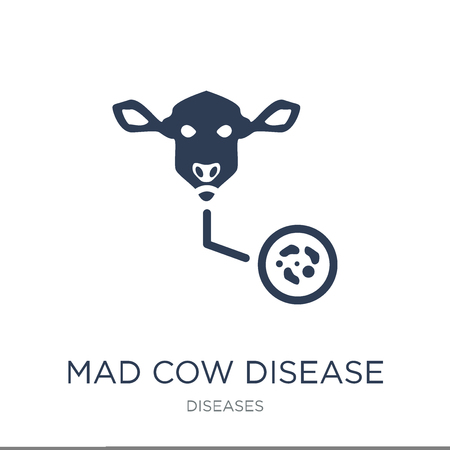 Mad cow disease icon. Trendy flat vector Mad cow disease icon on white background from Diseases collection, vector illustration can be use for web and mobile, eps10 写真素材 - 111297123