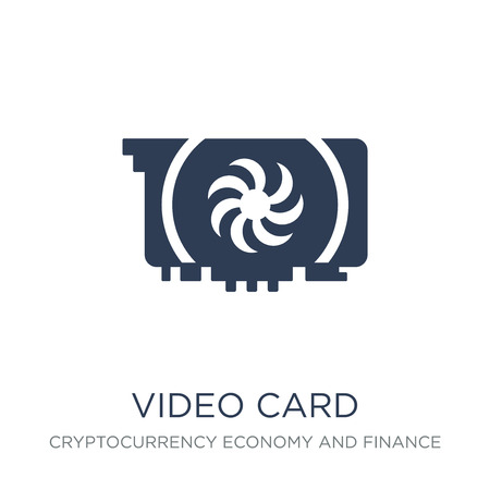Video card icon. Trendy flat vector Video card icon on white background from Cryptocurrency economy and finance collection, vector illustration can be use for web and mobile, eps10 Иллюстрация