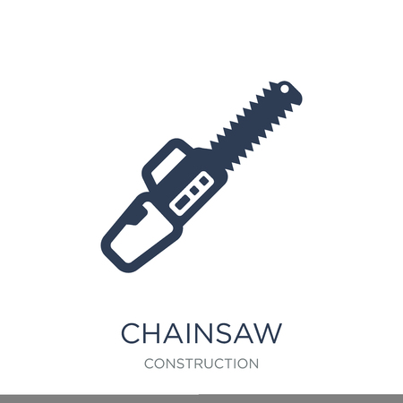 Chainsaw icon. Trendy flat vector Chainsaw icon on white background from Construction collection, vector illustration can be use for web and mobile, eps10 Stock Vector - 111297058