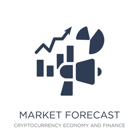market forecast icon. Trendy flat vector market forecast icon on white background from Cryptocurrency economy and finance collection, vector illustration can be use for web and mobile, eps10 Banco de Imagens - 112064146