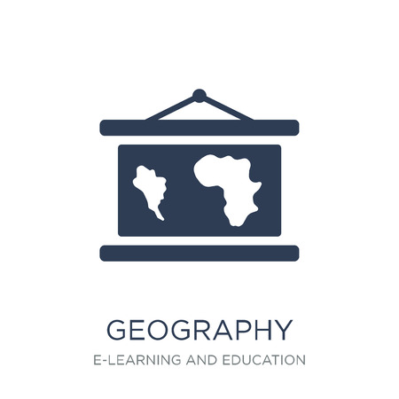 Geography icon. Trendy flat vector Geography icon on white background from E-learning and education collection, vector illustration can be use for web and mobile, eps10 Ilustração