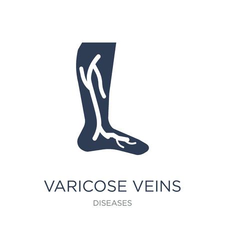 Icono de varices. Icono de venas varicosas de moda vector plano sobre fondo blanco de colección de enfermedades, Ilustración de vectores se puede utilizar para web y móvil, eps10