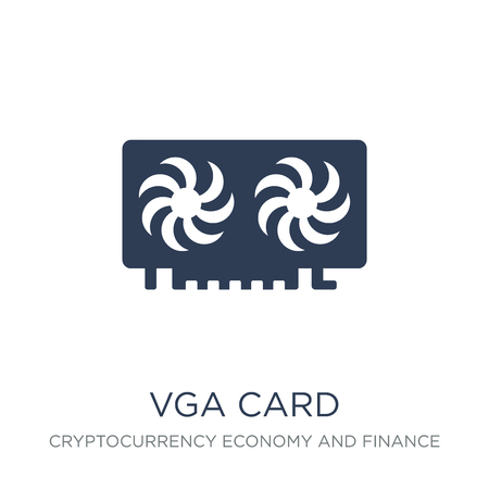Vga card icon. Trendy flat vector Vga card icon on white background from Cryptocurrency economy and finance collection, vector illustration can be use for web and mobile, eps10 Illustration