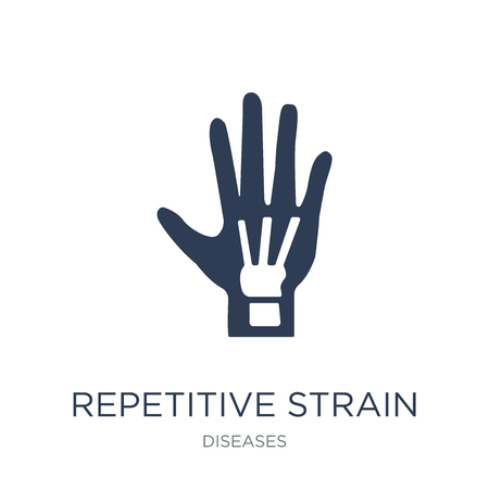 Repetitive strain injury icon. Trendy flat vector Repetitive strain injury icon on white background from Diseases collection, vector illustration can be use for web and mobile, eps10 Reklamní fotografie - 112064270