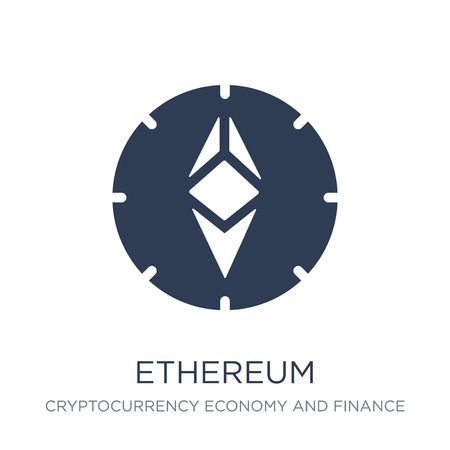 Ethereum icon. Trendy flat vector Ethereum icon on white background from Cryptocurrency economy and finance collection, vector illustration can be use for web and mobile, eps10 Illustration