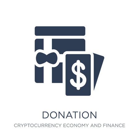 Donation icon. Trendy flat vector Donation icon on white background from Cryptocurrency economy and finance collection, vector illustration can be use for web and mobile, eps10 Archivio Fotografico - 112095351