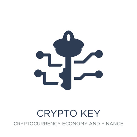 crypto key icon. Trendy flat vector crypto key icon on white background from Cryptocurrency economy and finance collection, vector illustration can be use for web and mobile, eps10 Illustration