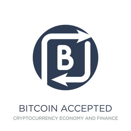 Bitcoin accepted icon. Trendy flat vector Bitcoin accepted icon on white background from Cryptocurrency economy and finance collection, vector illustration can be use for web and mobile, eps10 Banque d'images - 112095354