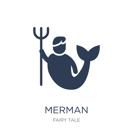 Merman icon. Trendy flat vector Merman icon on white background from Fairy Tale collection, vector illustration can be use for web and mobile, eps10 Illustration