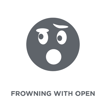 Frowning With Open Mouth emoji icon. Frowning With Open Mouth emoji design concept from Emoji collection. Simple element vector illustration on white background.