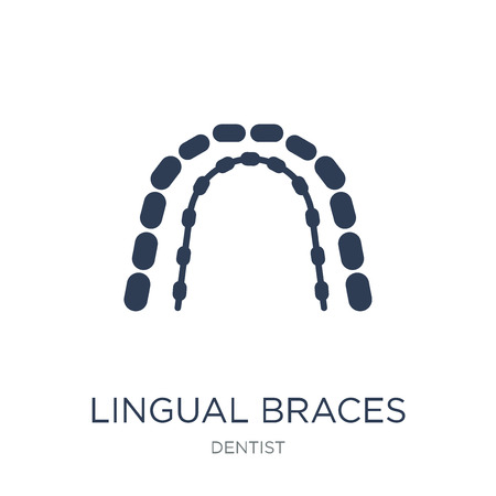 Lingual braces icon. Trendy flat vector Lingual braces icon on white background from Dentist collection, vector illustration can be use for web and mobile, eps10