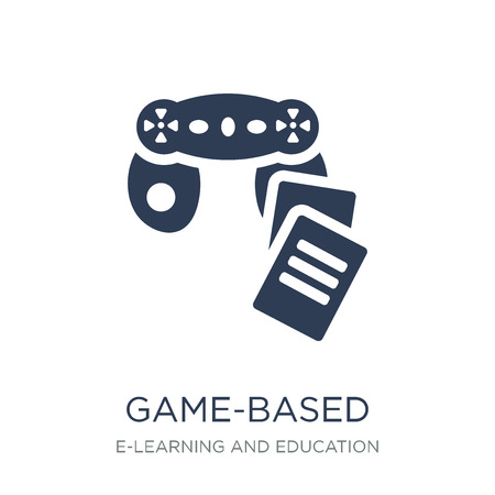 game-based learning icon. Trendy flat vector game-based learning icon on white background from E-learning and education collection, vector illustration can be use for web and mobile, eps10