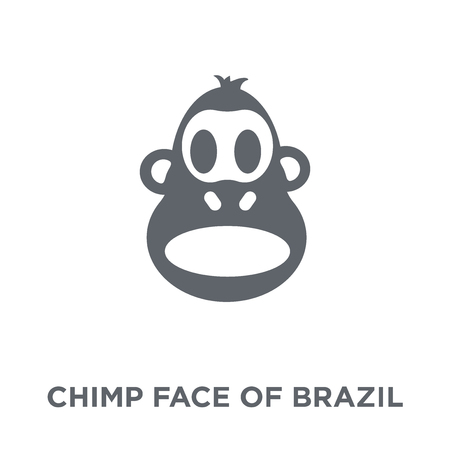 Chimp face of Brazil icon. Chimp face of Brazil design concept from Brazilian icons collection. Simple element vector illustration on white background. Stok Fotoğraf - 111940383