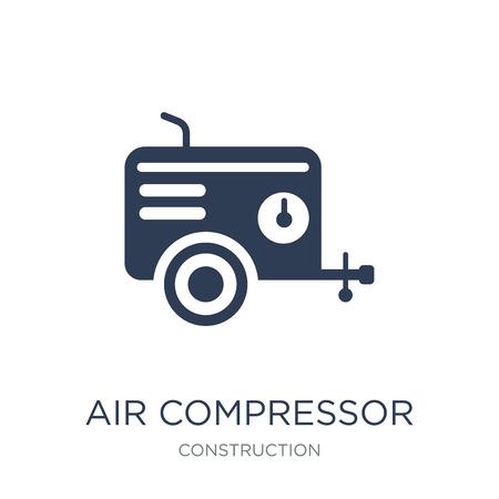 Icona del compressore d'aria. Icona del compressore d'aria piatto vettoriale su priorità bassa bianca da collezione di costruzioni, illustrazione vettoriale può essere utilizzato per il web e mobile, eps10 Vettoriali