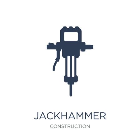 Icona del martello pneumatico. Icona di martello pneumatico piatto vettoriale su priorità bassa bianca da collezione di costruzioni, illustrazione vettoriale può essere utilizzato per il web e mobile, eps10
