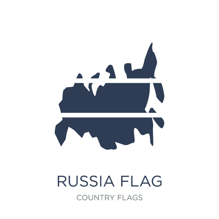 Russia flag icon. Trendy flat vector Russia flag icon on white background from Country Flags collection, vector illustration can be use for web and mobile, eps10