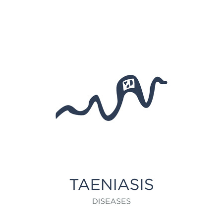 Taeniasis icon. Trendy flat vector Taeniasis icon on white background from Diseases collection, vector illustration can be use for web and mobile, eps10