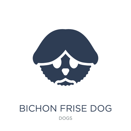 Bichon Frise dog icon. Trendy flat vector Bichon Frise dog icon on white background from dogs collection, vector illustration can be use for web and mobile, eps10 向量圖像