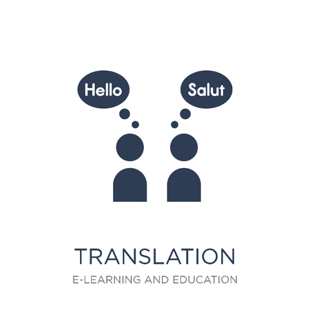 Translation icon. Trendy flat vector Translation icon on white background from E-learning and education collection, vector illustration can be use for web and mobile, eps10